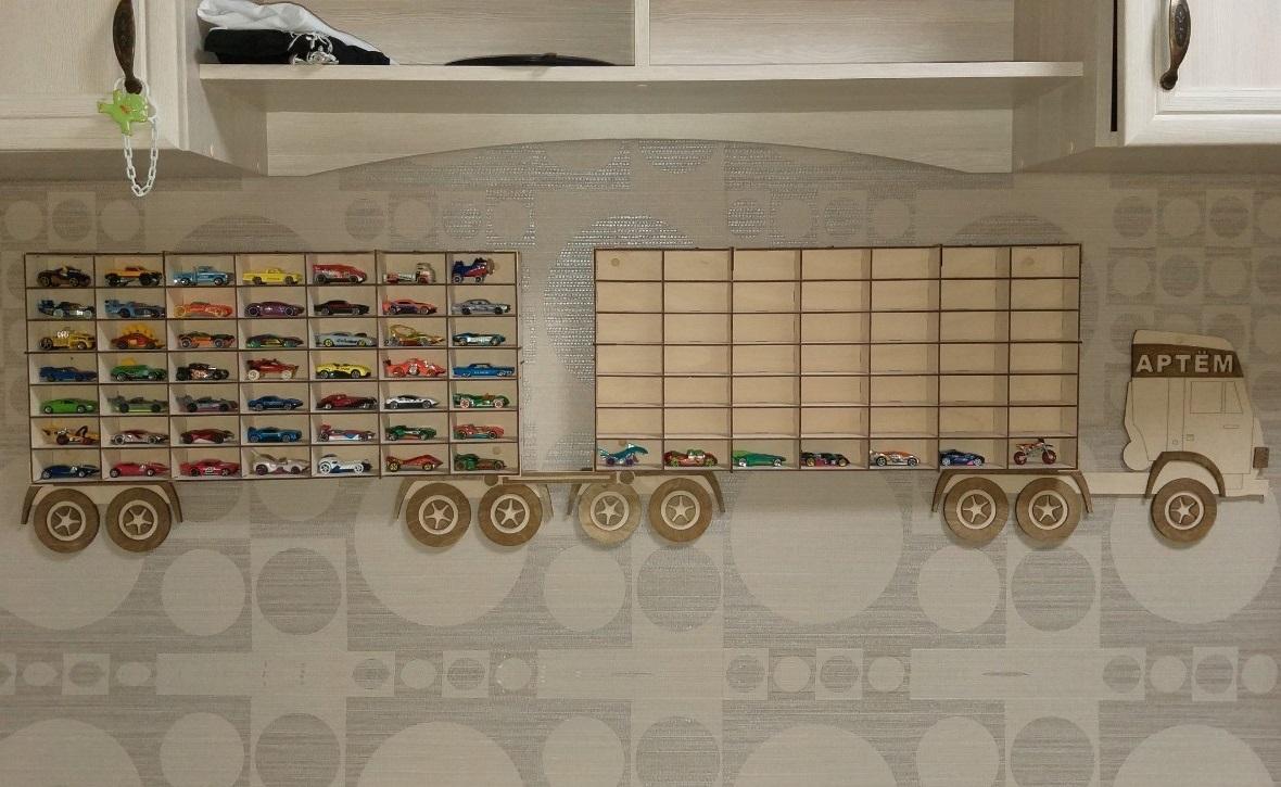 Laser Cut Wooden Truck Toy Car Storage Shelf 3mm Free Vector