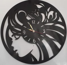 Laser Cut Hairdresser Beauty Salon Wall Clock Free Vector