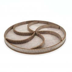 Laser Cut Wooden Round Decorative Tray With Sections Free Vector
