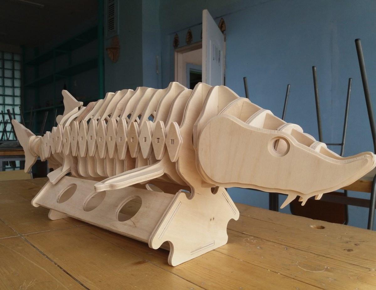 Laser Cut Minibar Sturgeon Fish Free Vector