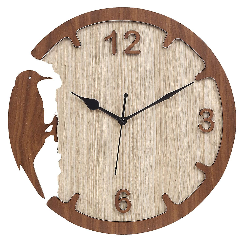 Laser Cut Woodpecker Style Wall Clock Modern Design Decorative Clock Free Vector