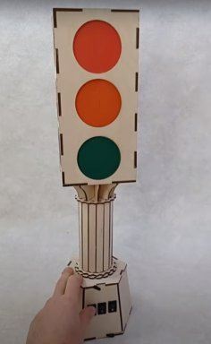 Laser Cut Traffic Light Toy Free Vector