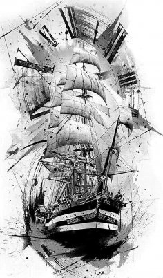 Ship Abstract Art Digitize Drawing For Laser Engraving BMP File
