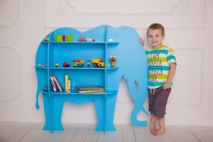 Laser Cut Wood Elephant Shelf Shelf Furniture For Kids Room Free Vector