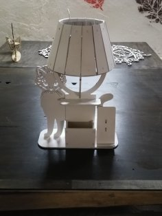 Laser Cut Cat Table Lamp With Organizer DXF File