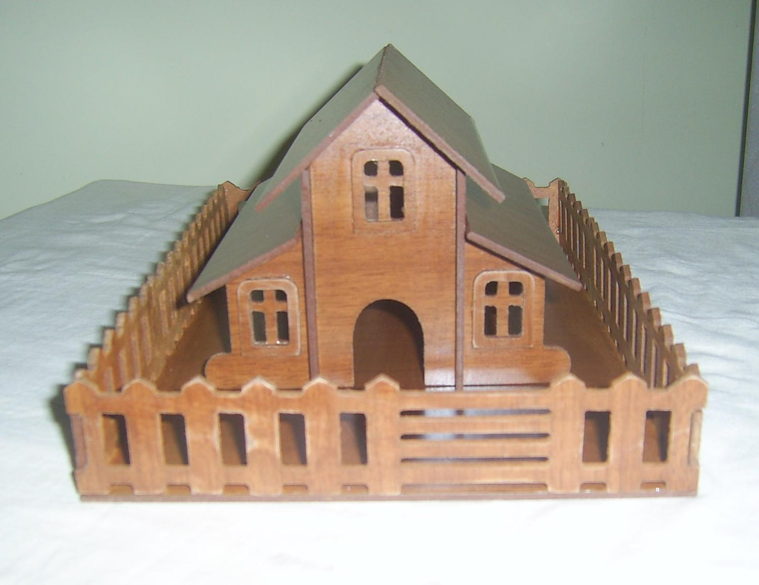 Laser Cut Home with Fence DXF File