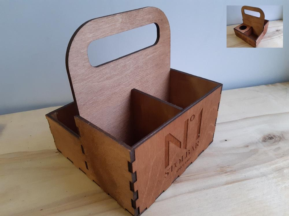 Laser Cut Caddy Spice Box with Handle Template Free Vector