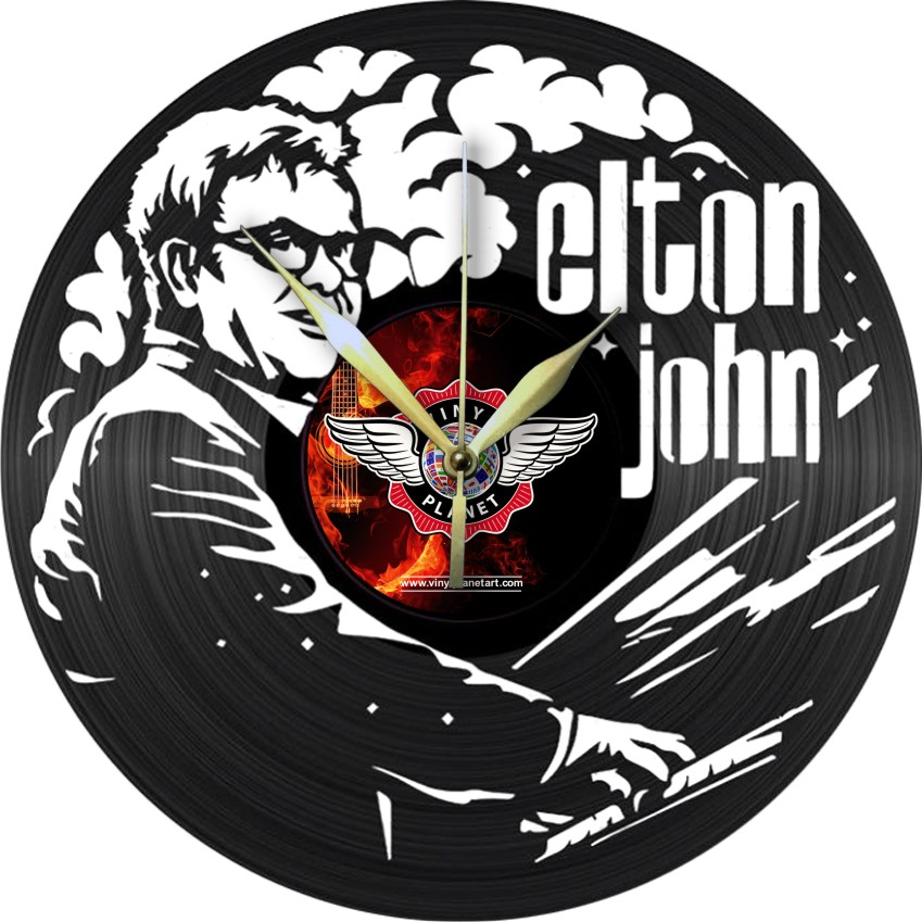 Elton John Vinyl Record Clock Laser Cut Template Free Vector