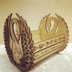 Laser Cut Swan Candy Bowl 4mm Free Vector