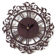 Laser Cut Ornament Clock Wall Decor Free Vector