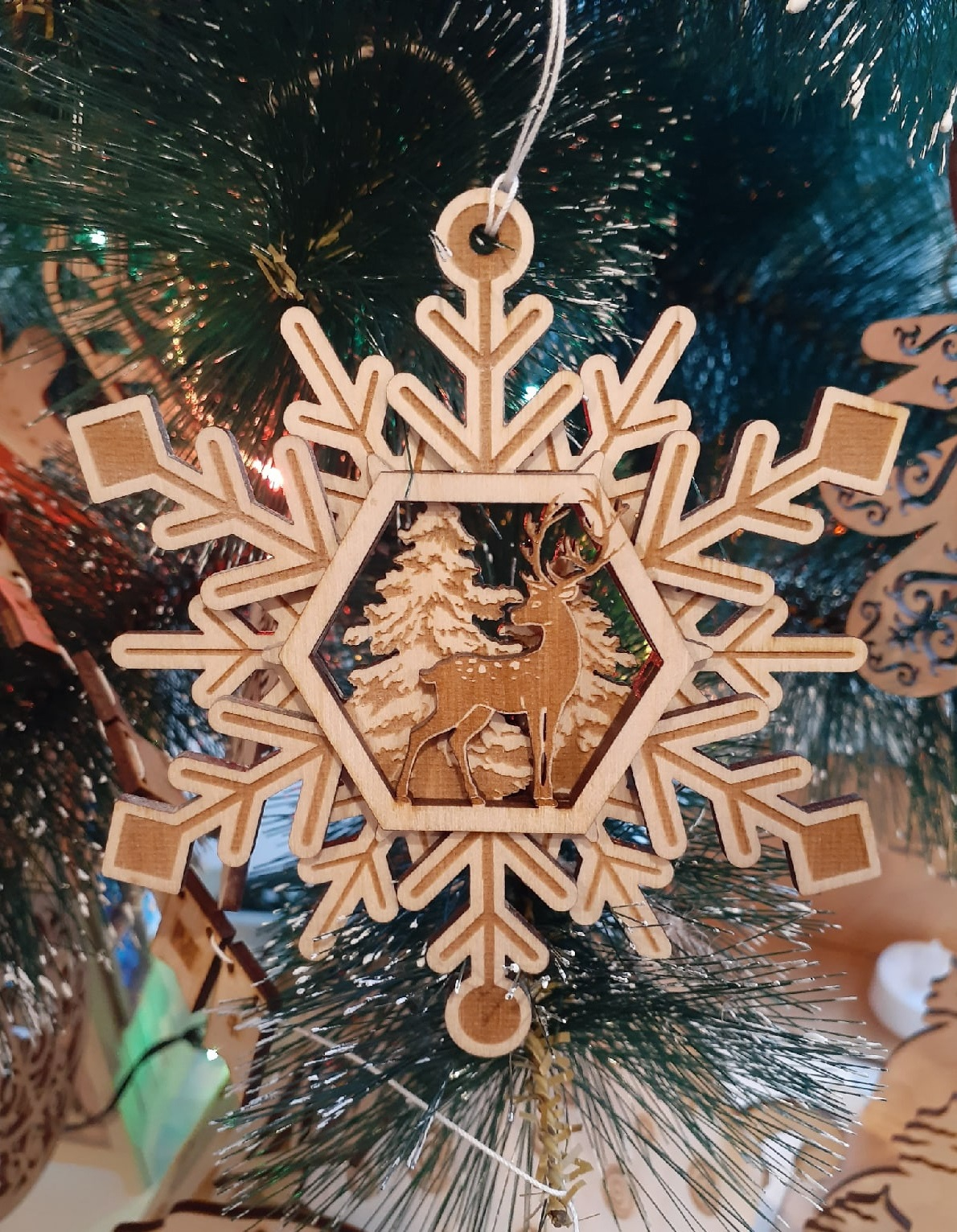 Laser Cut Wooden Deer Snowflakes Christmas Tree Toys Free Vector