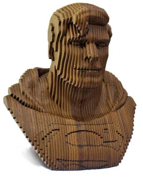 Laser Cut Superman Head Sculpture Layered Wooden Art DXF File