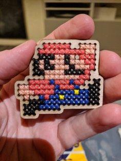 Laser Cut Mario Wooden Cross Stitch Shape Blank DXF File