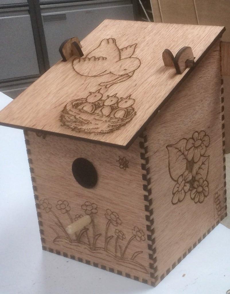 Laser Cut Bird Nesting Box Plywood Free Vector
