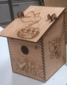 Laser Cut Bird Nesting Box Plywood Free Vector