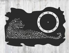 Laser Cut Leopard Clock Template Free Vector
