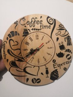 Laser Cut  Coffee Time Wall Clock Template Free Vector