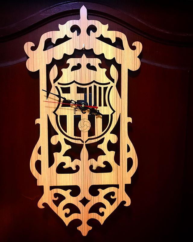 Laser Cut FC Barcelona Wall Clock Template Free Vector