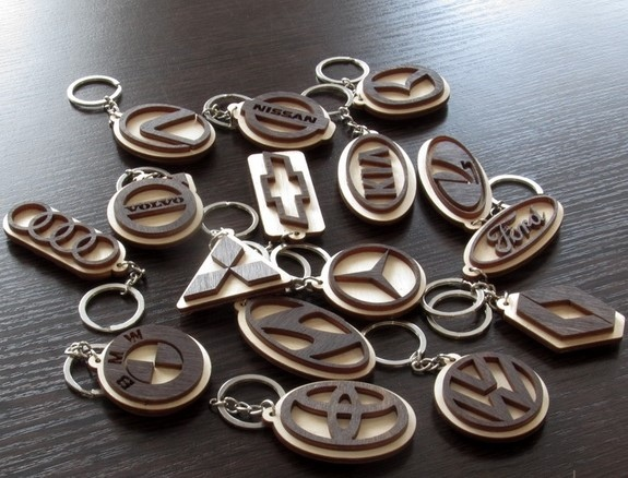 Laser Cut Volkswagen Key Chain with Logo Free Vector