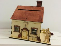 Laser Cut Piggy Bank House Coin Bank Saving Box Free Vector