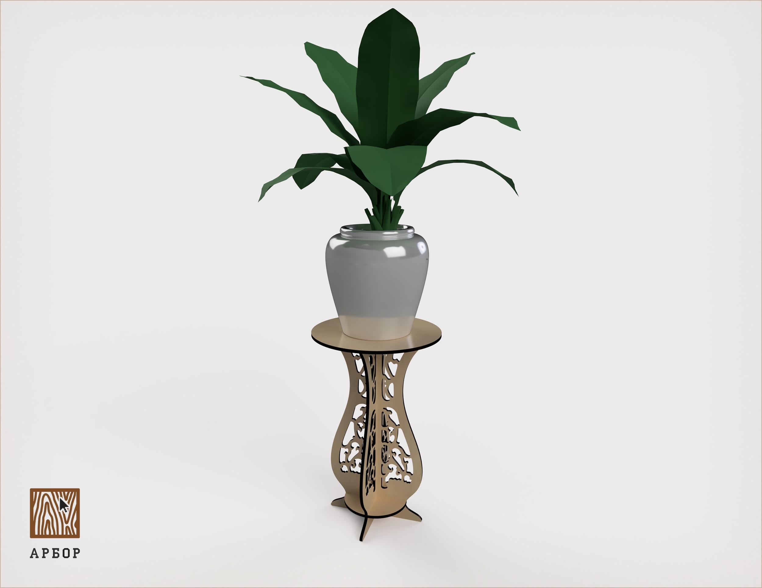 Laser Cut Flower Pot Stand Free Vector