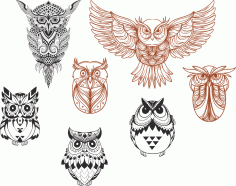 Owl designs collection Vector Art Free Vector