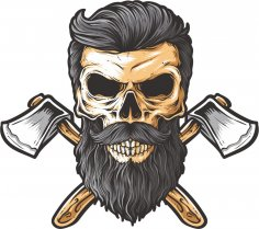 Bearded skull illustration on white background CDR File