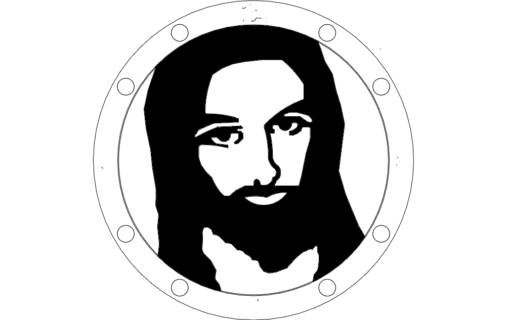 Jesus Sillhouette Fixed dxf File
