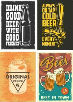 Retro Beer Posters 1 Free Vector