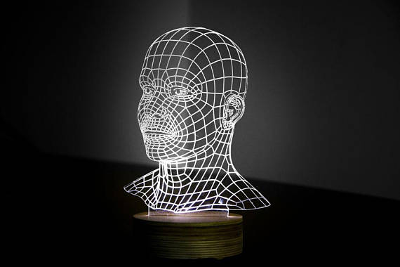 HEAD 3d illusion acrylic lamp Free Vector