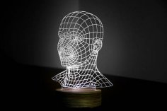 HEAD 3d illusion acrylic lamp Free Vector
