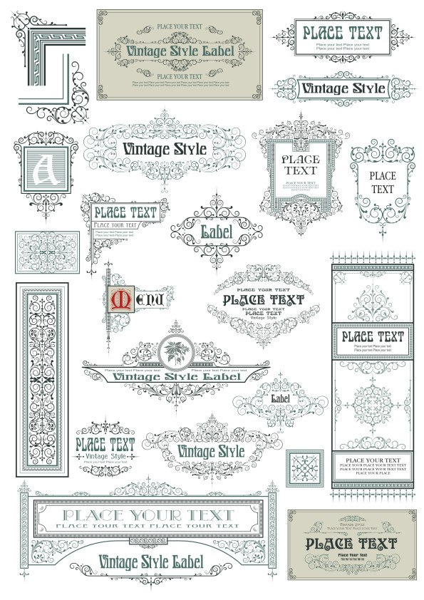Vintage Vector Label Page Dividers And Borders Free Vector