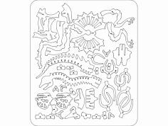 Dilophosaurus 3D Puzzle dxf File