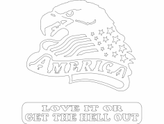 American Eagle Head 2 dxf File