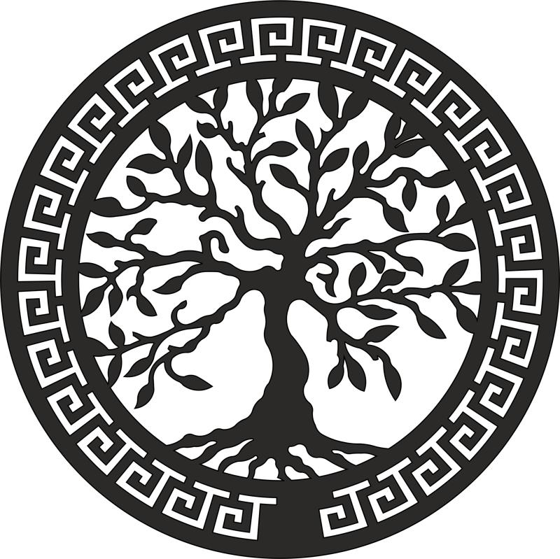 Olive Tree Laser Cut Wall Art Free Vector