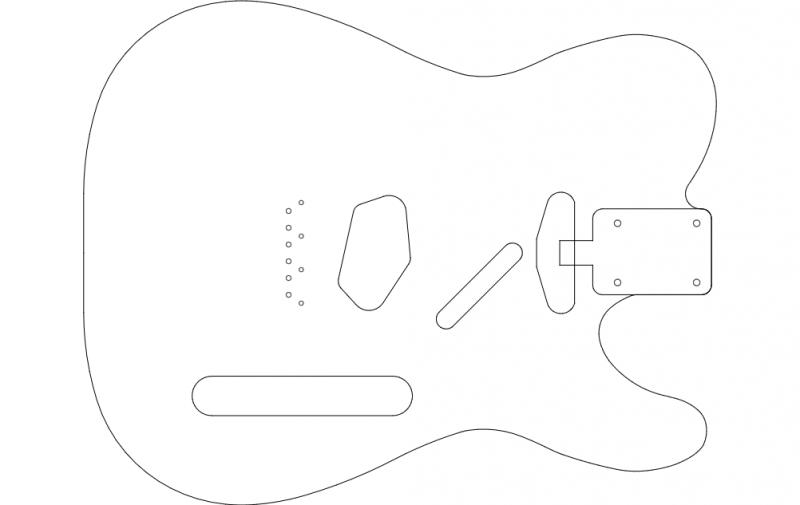 Guitar Outline vector dxf File
