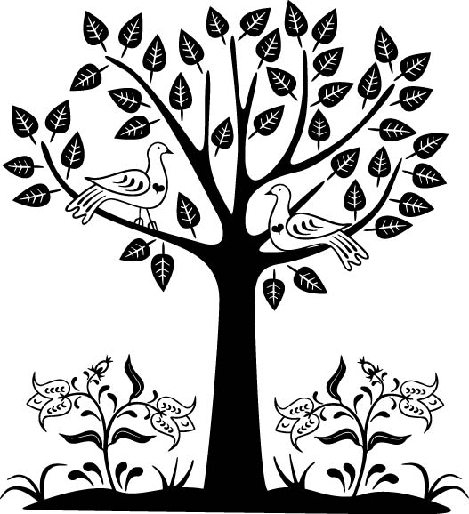 Tree with Birds Vector Illustration Free Vector