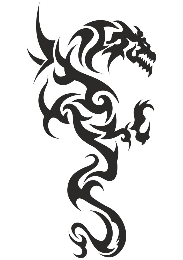 Black and white tattoo Dragon Vector Free Vector