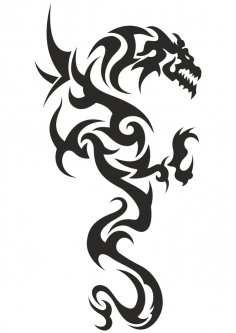 Black and white tattoo Dragon Vector CDR File