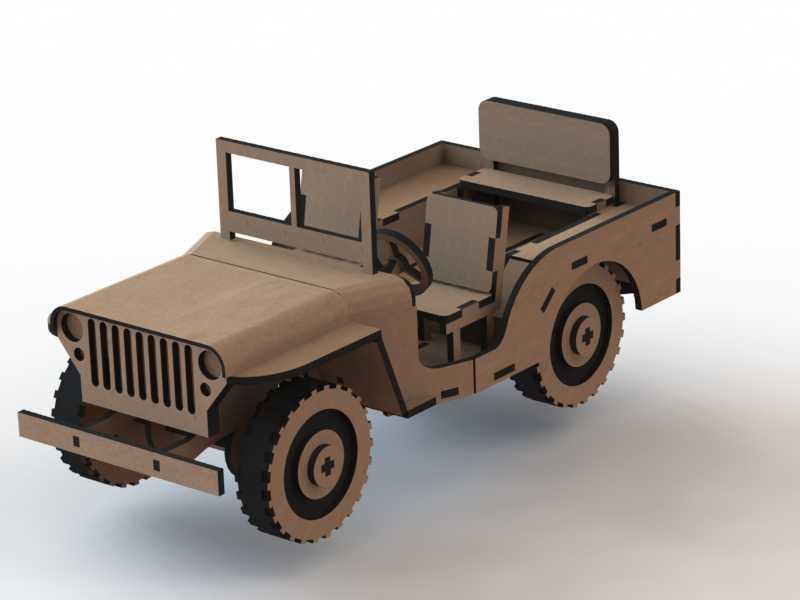Jeep 3D Wooden Puzzle Laser Cut Free Vector