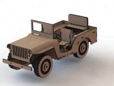 Jeep 3D Wooden Puzzle Laser Cut Free Vector
