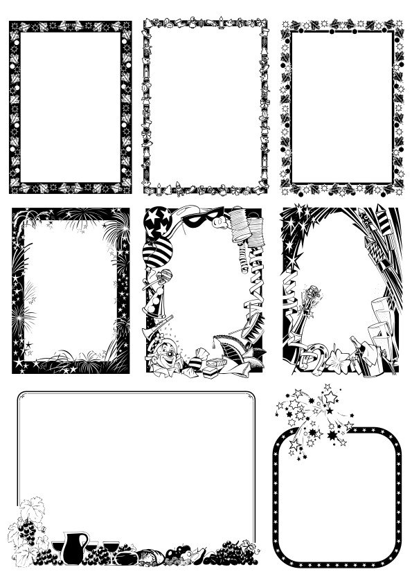 Black and white Border Frame with Floral Patterns Free Vector