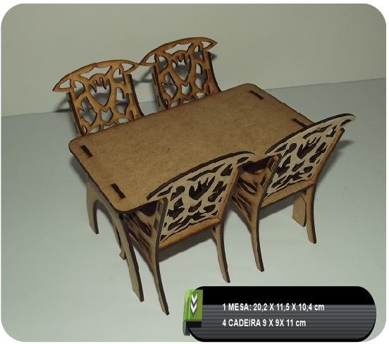 Table And Chairs CNC Plan Free Vector