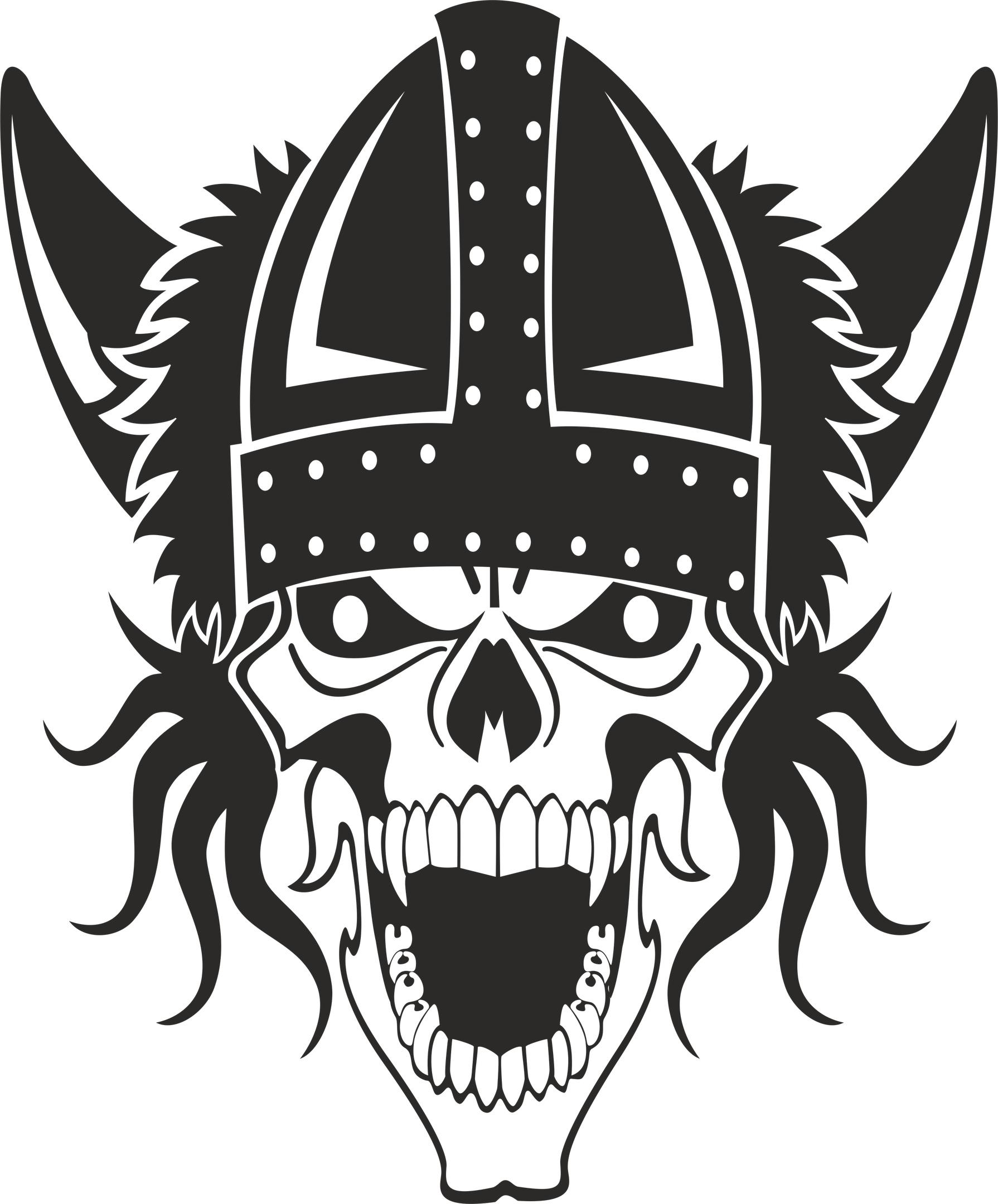Viking Skull Print Free Vector