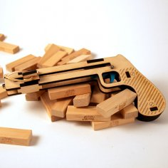 Jenga Pistol Plans Laser Cut CNC Free Vector