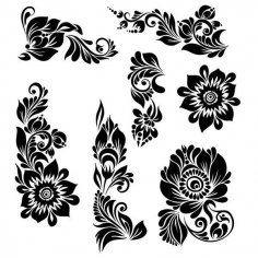 Black Ornaments Floral Vector Illustration dxf File