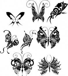 Butterfly Tattoo Design Vectors Art Free Vector