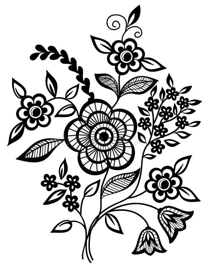 Stunning Black And White Flower Vector Art jpg Image