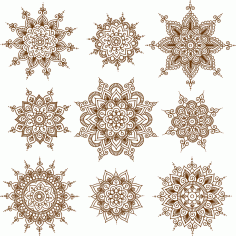 Vector Illustration Of Mehndi Ornaments CDR File