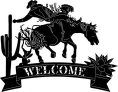Cowboy Welcome Sign dxf File